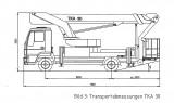 Převozní rozměry plošiny Bison TKA 30, Hmotnost 7,5 tun. Podvozek Man. Firma Velčovský.